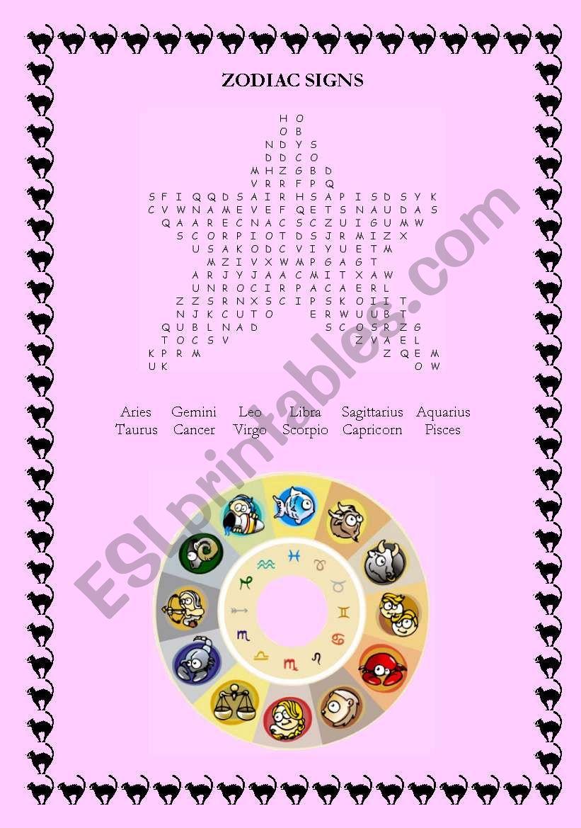 Zodiac Signs Wordsearch worksheet