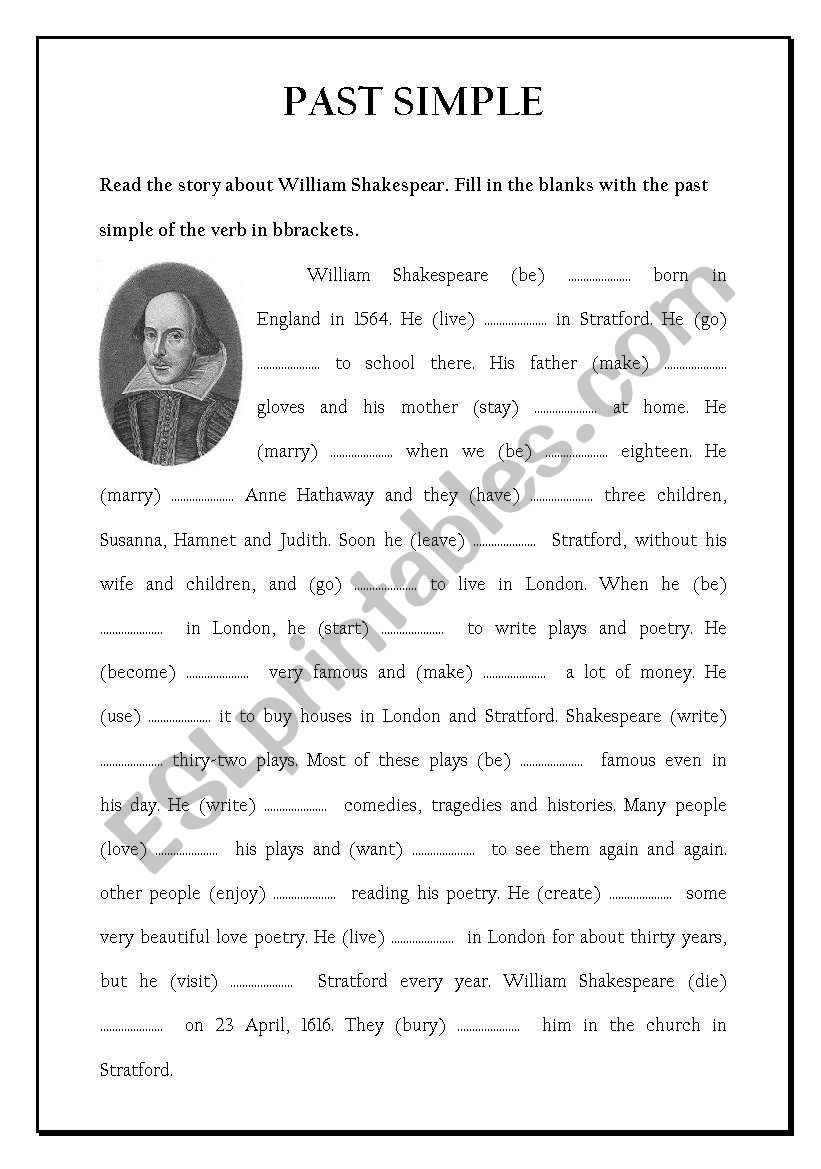 William Shakespeare Esl Worksheet By Nontanoon