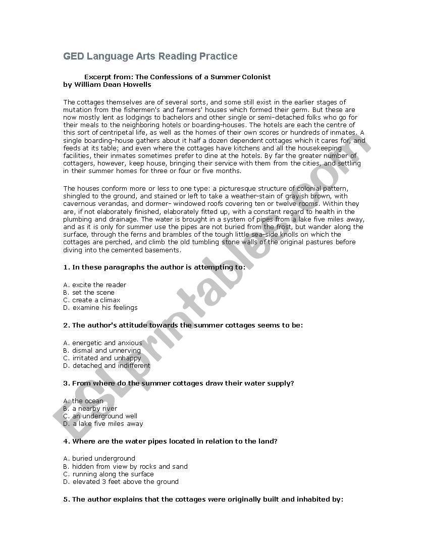 Reading Comprehension for adult Literacy - ESL worksheet ...