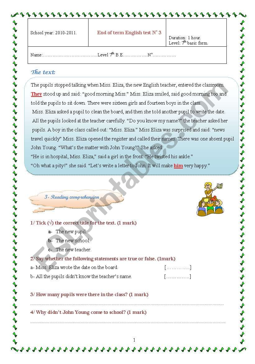 End of term test for 7th form worksheet