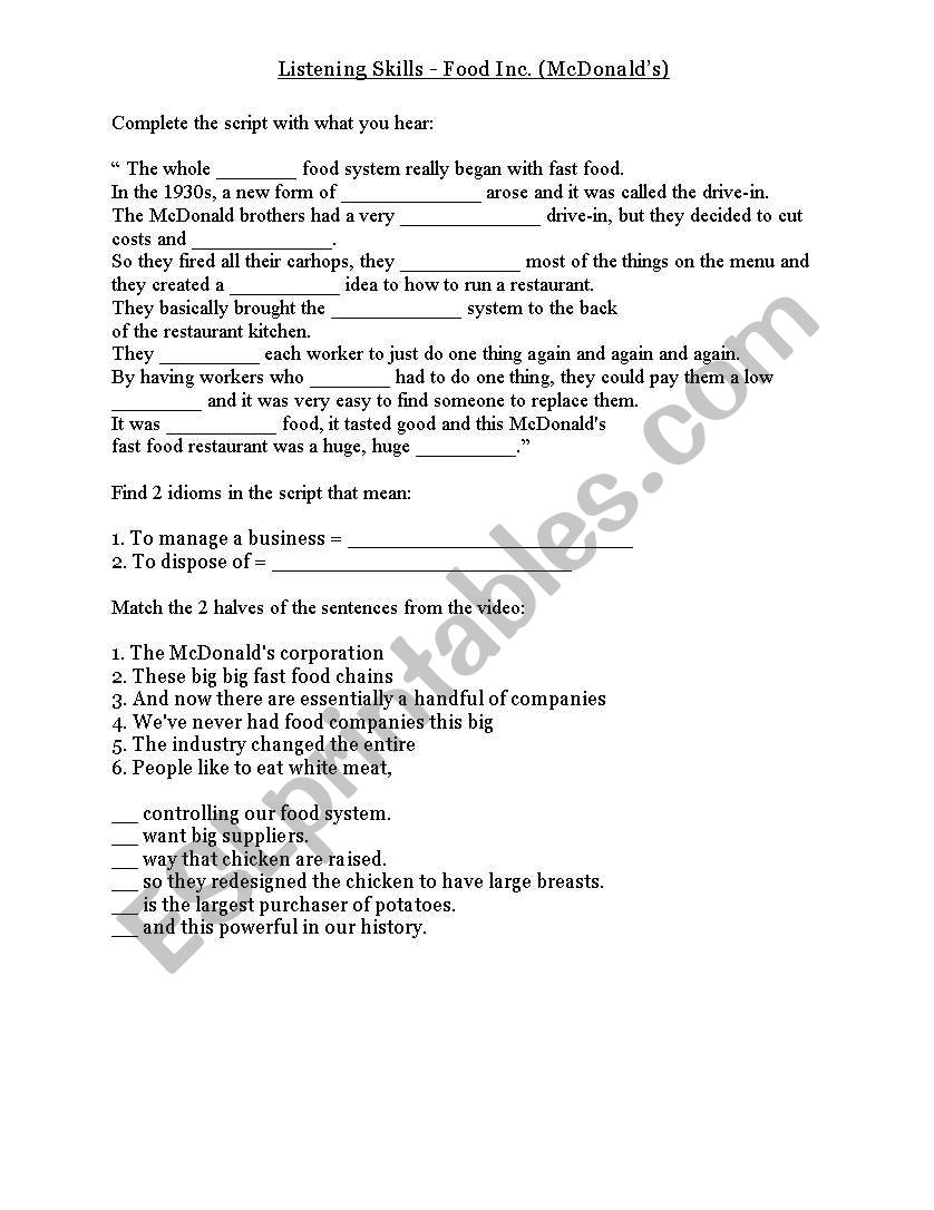 Food Inc Documentary segment - McDonald´s - ESL worksheet by Intended For Food Inc Movie Worksheet Answers