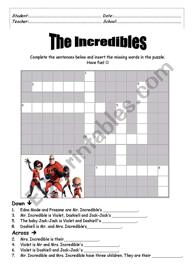 picture regarding Printable Movie Crossword Puzzles known as The Incredibles Crossword Puzzle - ESL worksheet as a result of ffausto