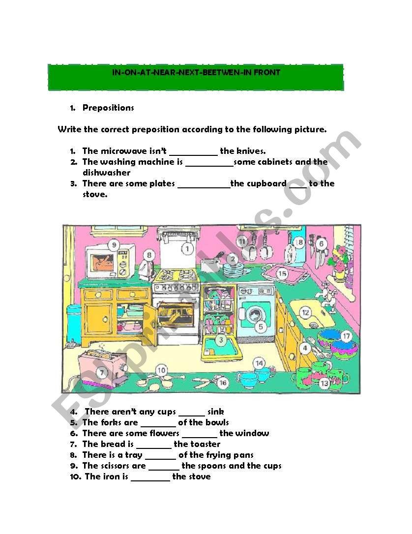IN THE KITCHEN. PREPOSITIONS worksheet