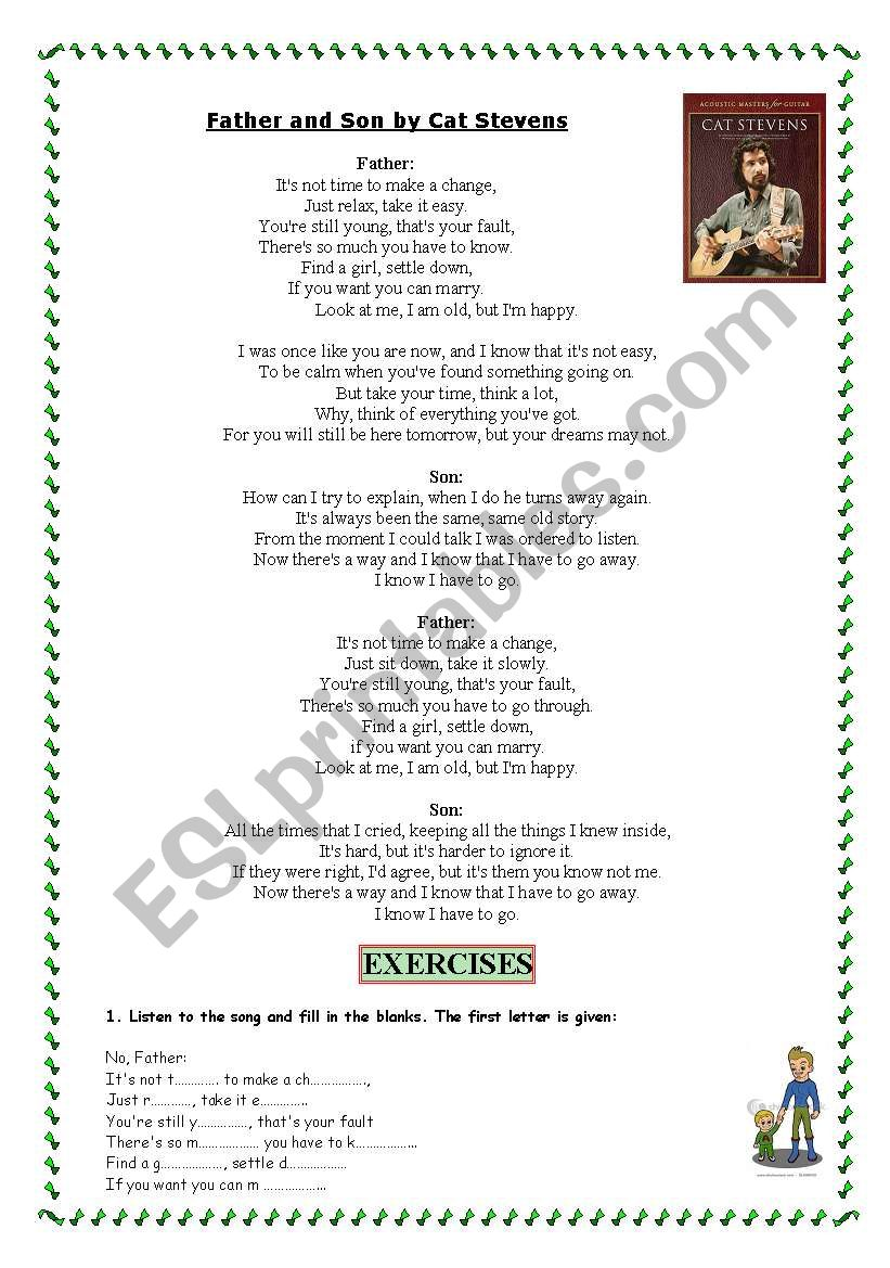 Father & Son by CAT STEVENS worksheet