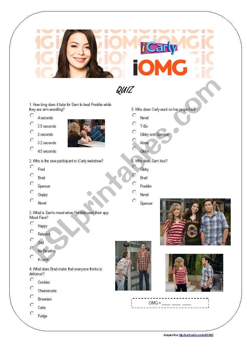 iCarly - iOMG - Quiz worksheet