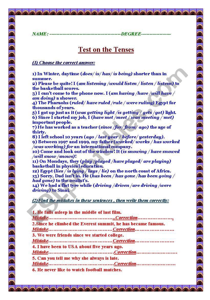 Test on the tenses worksheet