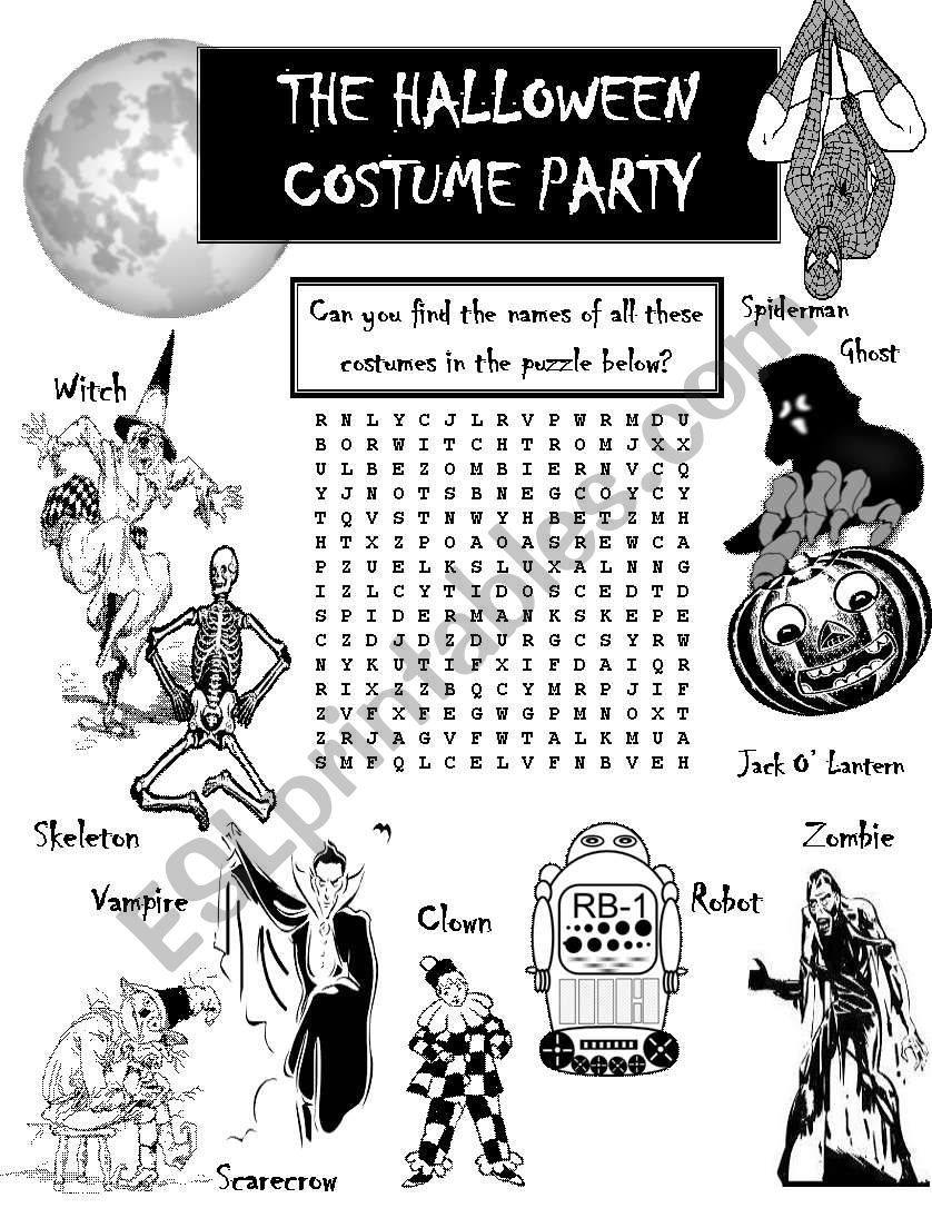 Halloween Costume Party Word search , ESL worksheet by seansarto