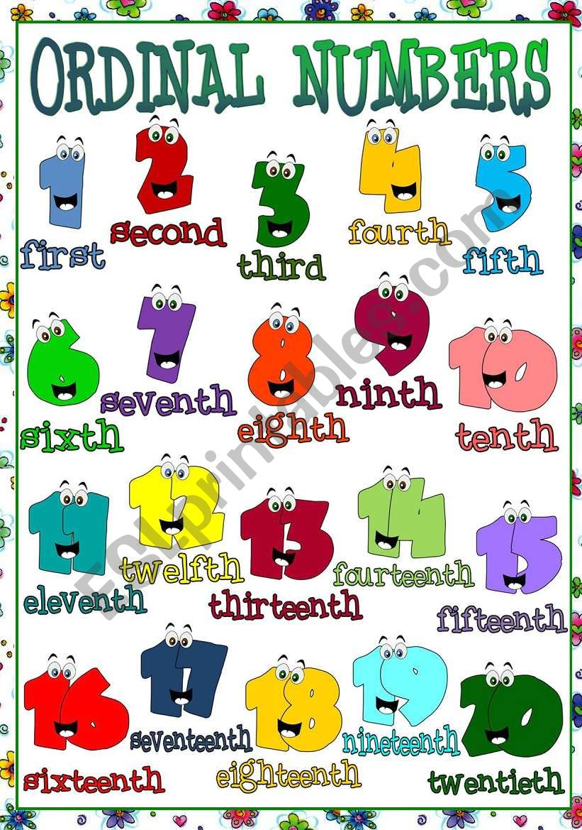 Ordinal Numbers - POSTER worksheet