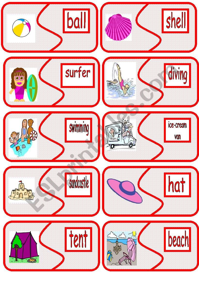 summer picture to word matching cards