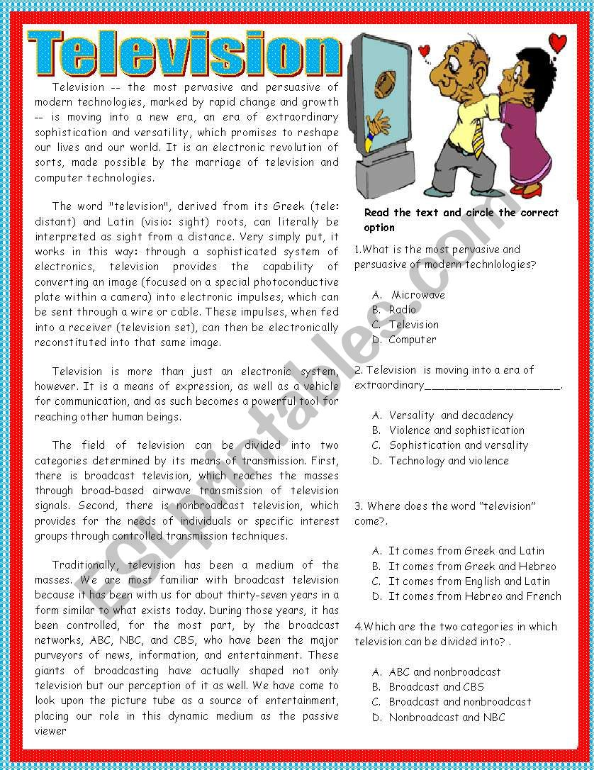 Reading comprehension-television