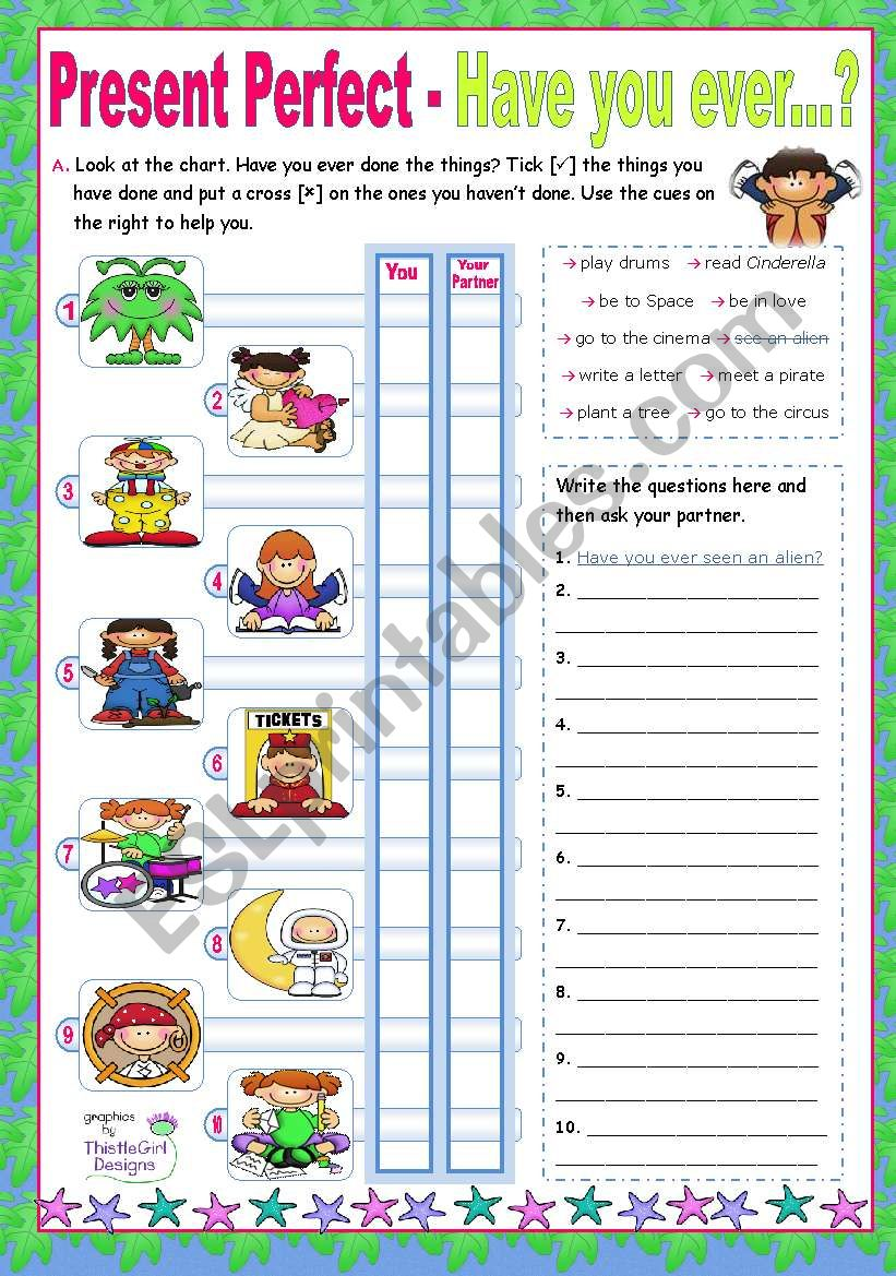 Present Perfect  -  Have you ever...?  for (upper) elementary students