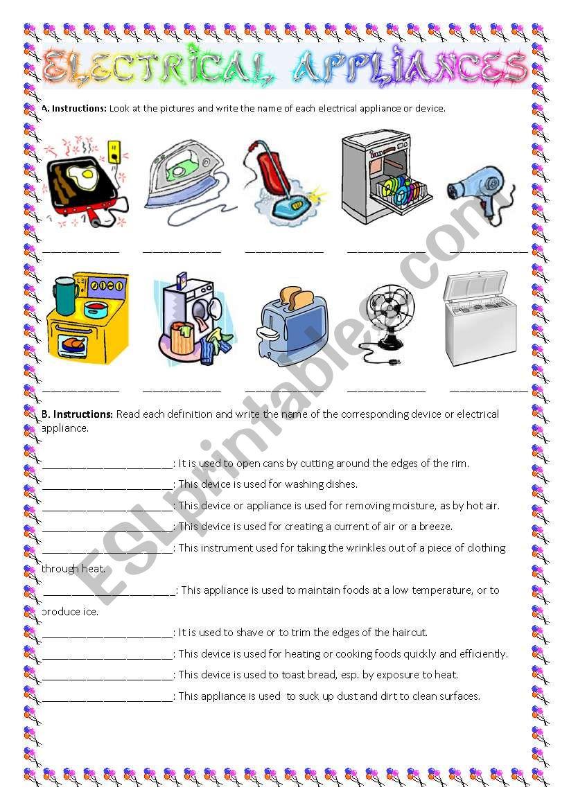 Electrical appliances practice