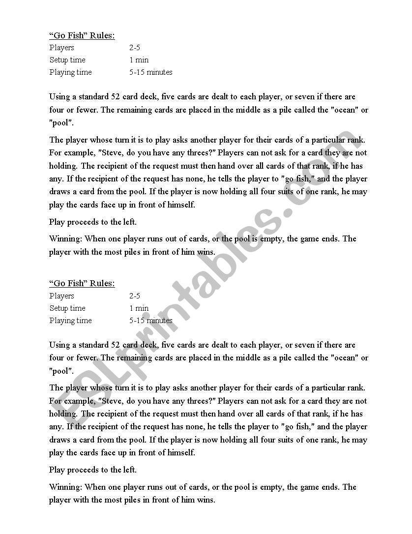 Go Fish Card Game Rules Esl Worksheet By Ferlaffitte