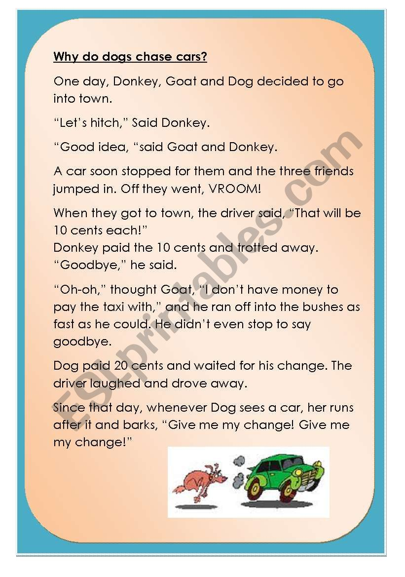 Why do dogs chase cars? worksheet