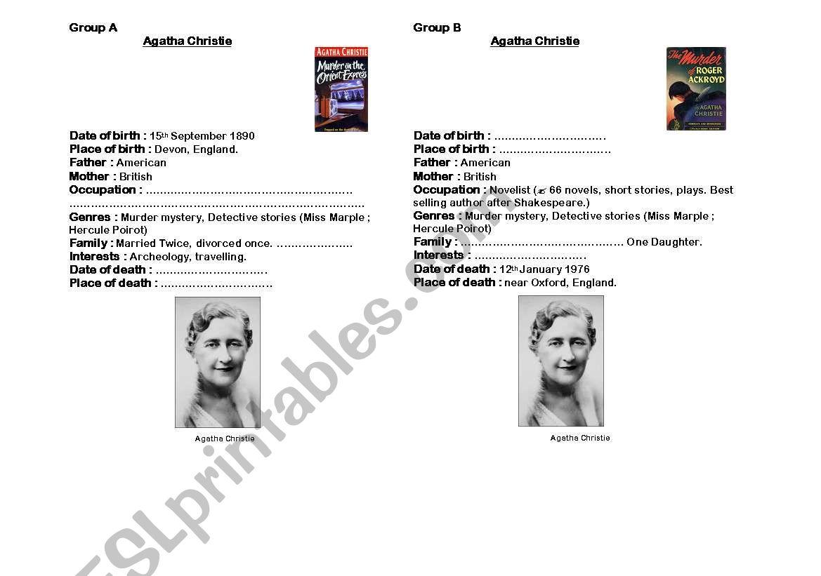 PairWork Agatha Christie worksheet