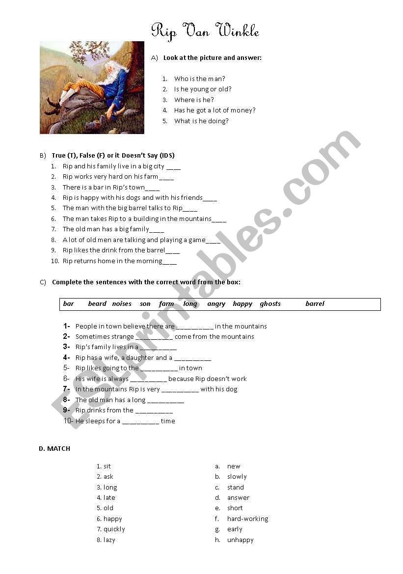 Rip Van Winkle worksheet