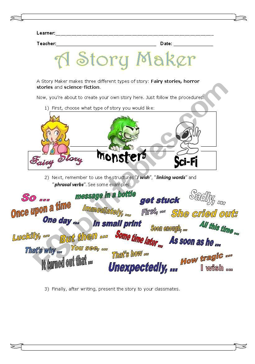 Story Maker - ESL worksheet by Vallada