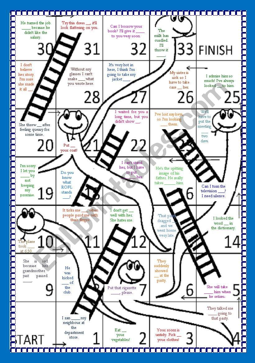 Phrasal Verbs Snake and Ladders Board Game