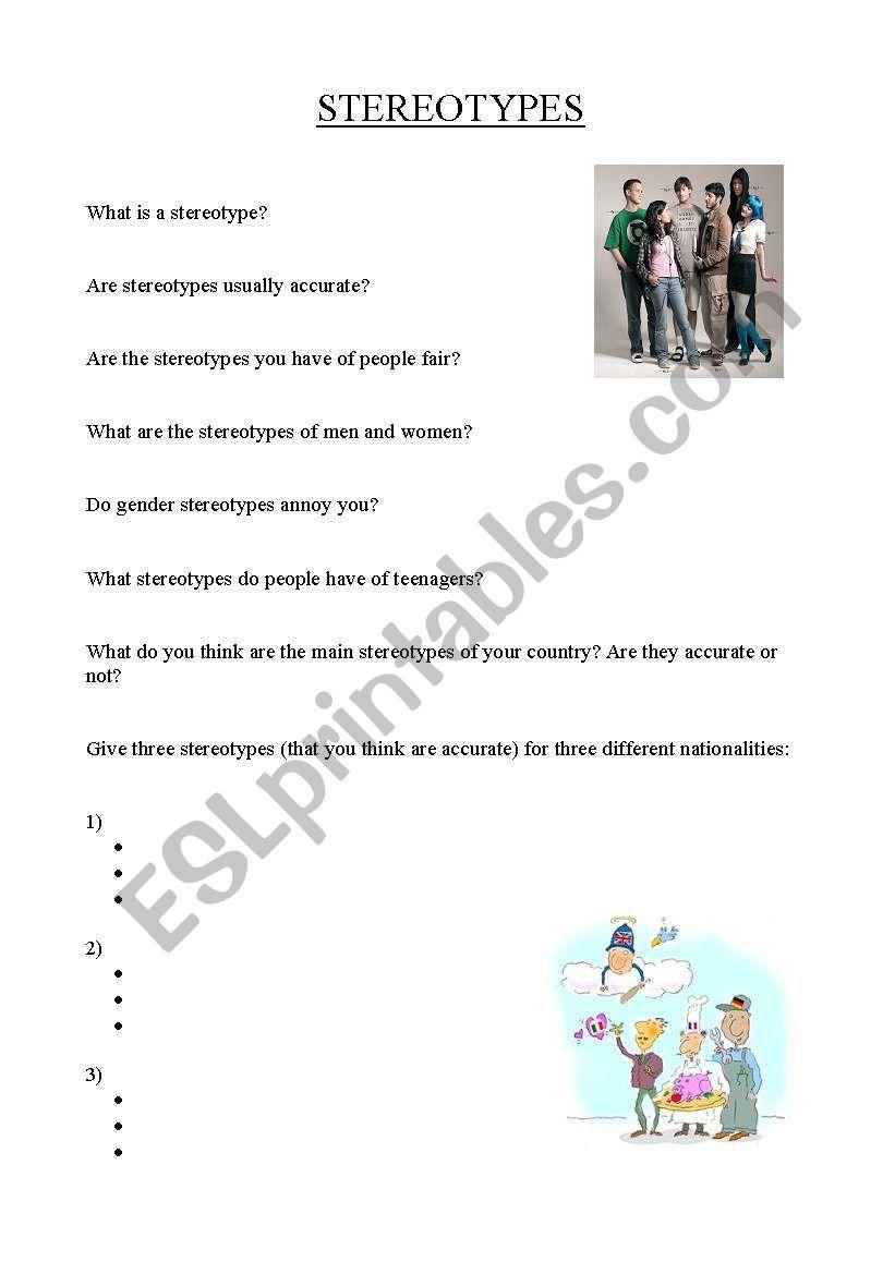 Worksheets Stereotype Worksheets stereotypes esl worksheet by dotty dalmatian worksheet
