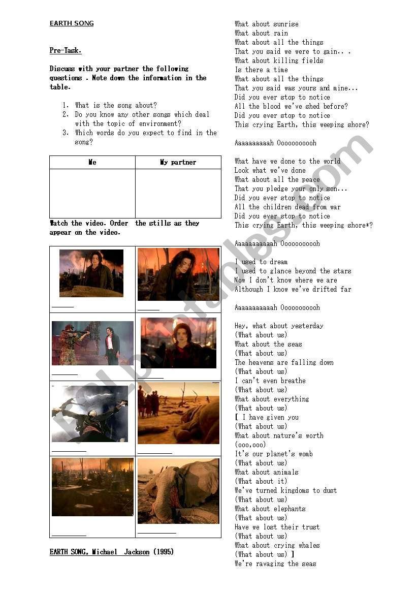 Earth song worksheet