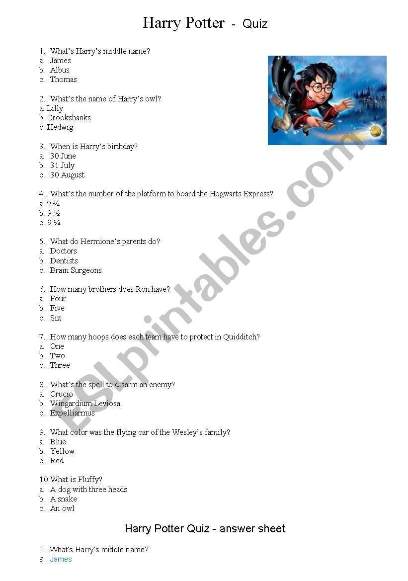 photo relating to Harry Potter Quiz Printable referred to as Harry Potter Quiz - ESL worksheet through jcarles
