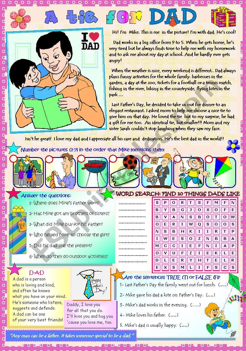 A TIE FOR DAD! (Reading comprehension activities + word search + poem)
