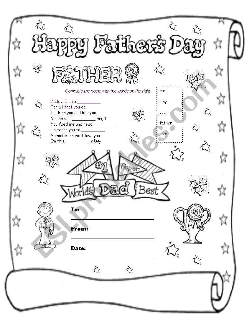 Father´s Day Poem worksheet