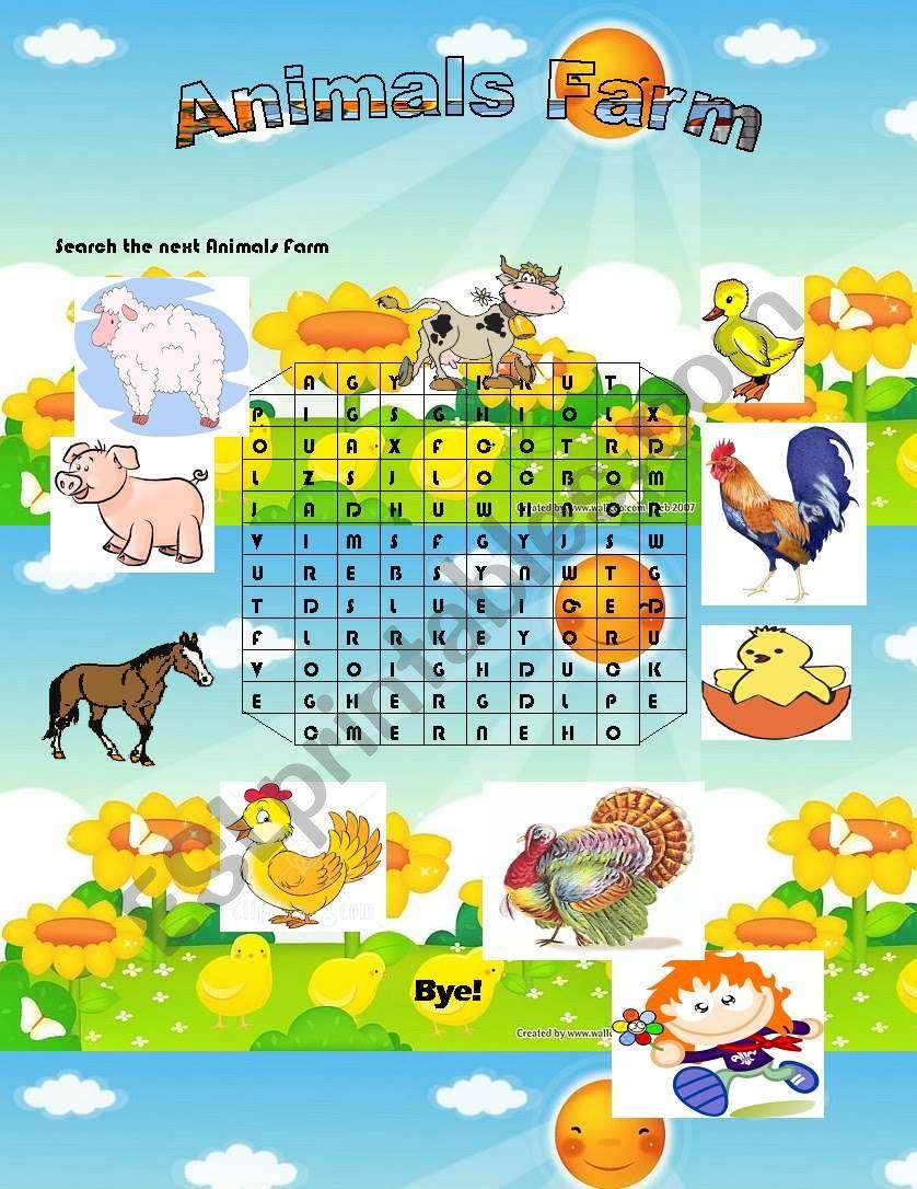 Animals  Farm Word Search worksheet