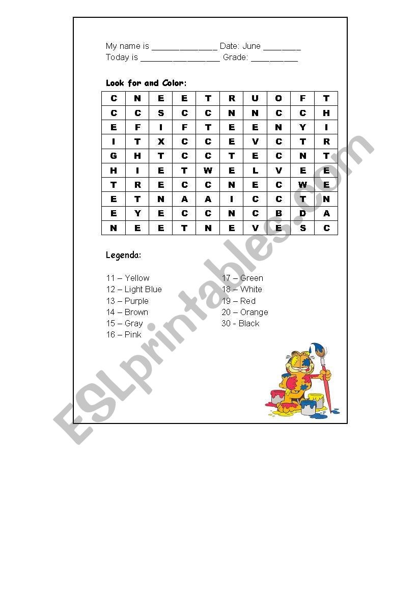 Numbers + Colors Crossword worksheet