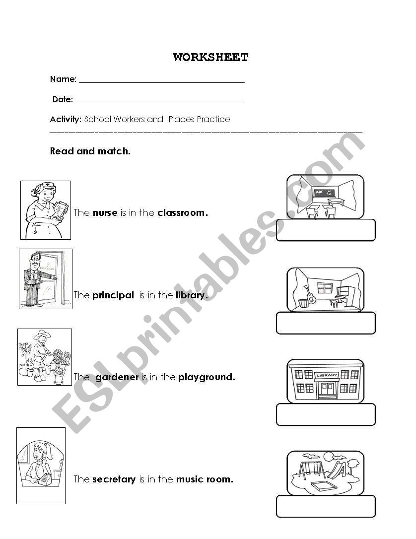 English worksheets: School Workers and locations