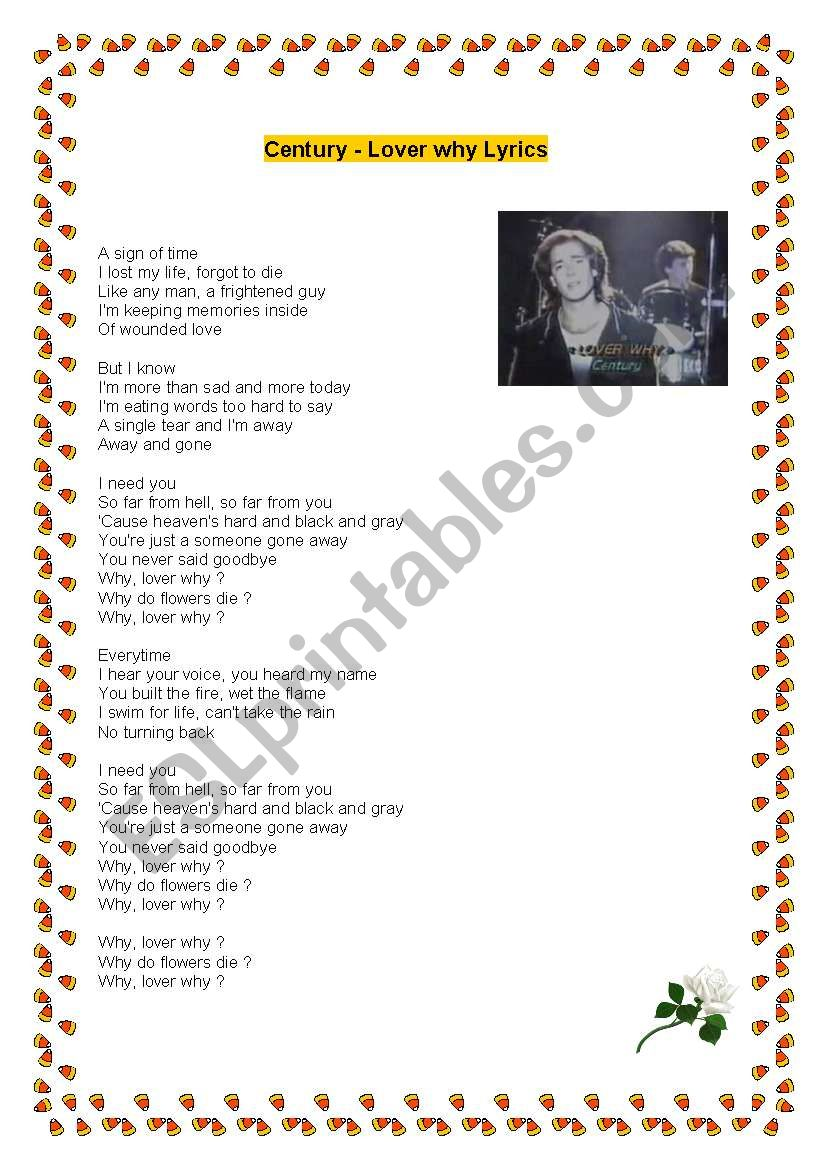 English worksheets: Lover Why by Ceintury