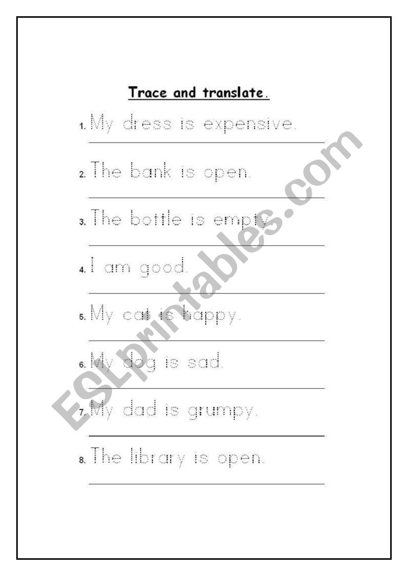 Trace and translate. worksheet