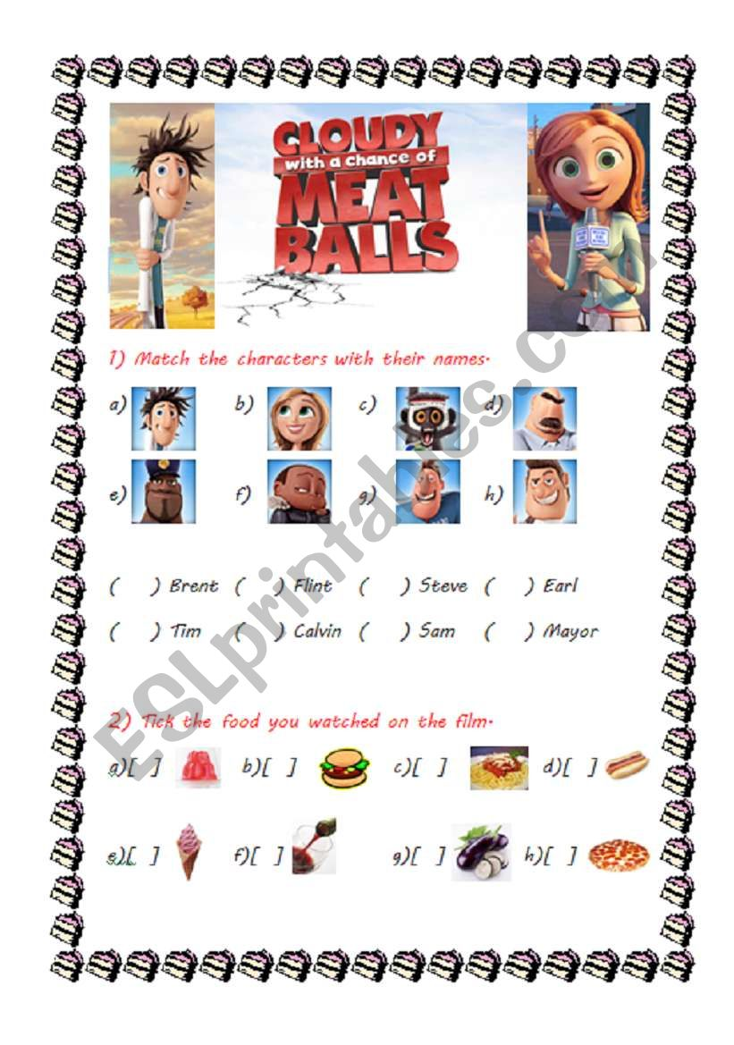 Cloudy With A Chance Of Meatballs Esl Worksheet By Biancadell