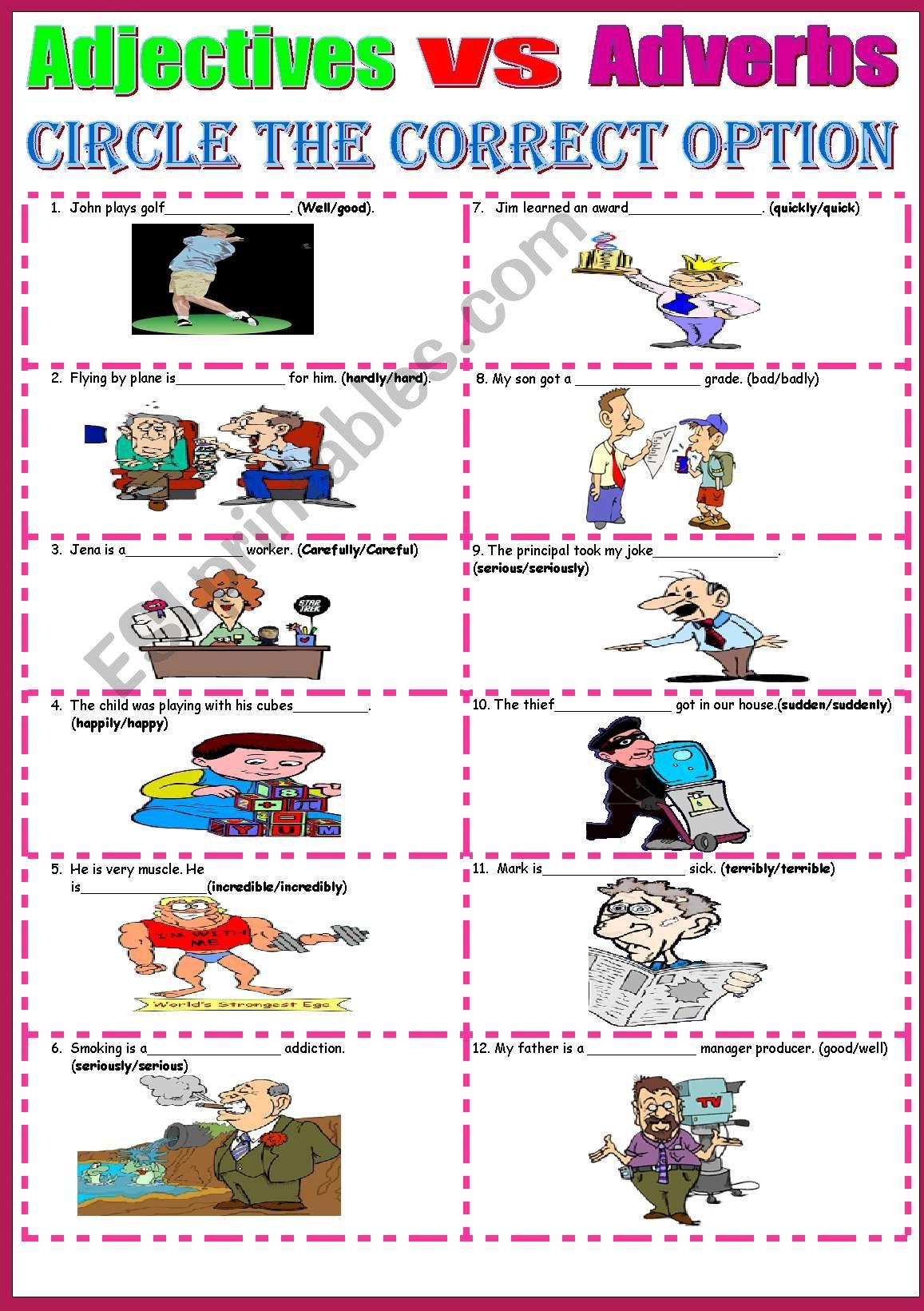 Adverbs vs Adjectives - ESL worksheet by la mente maestra