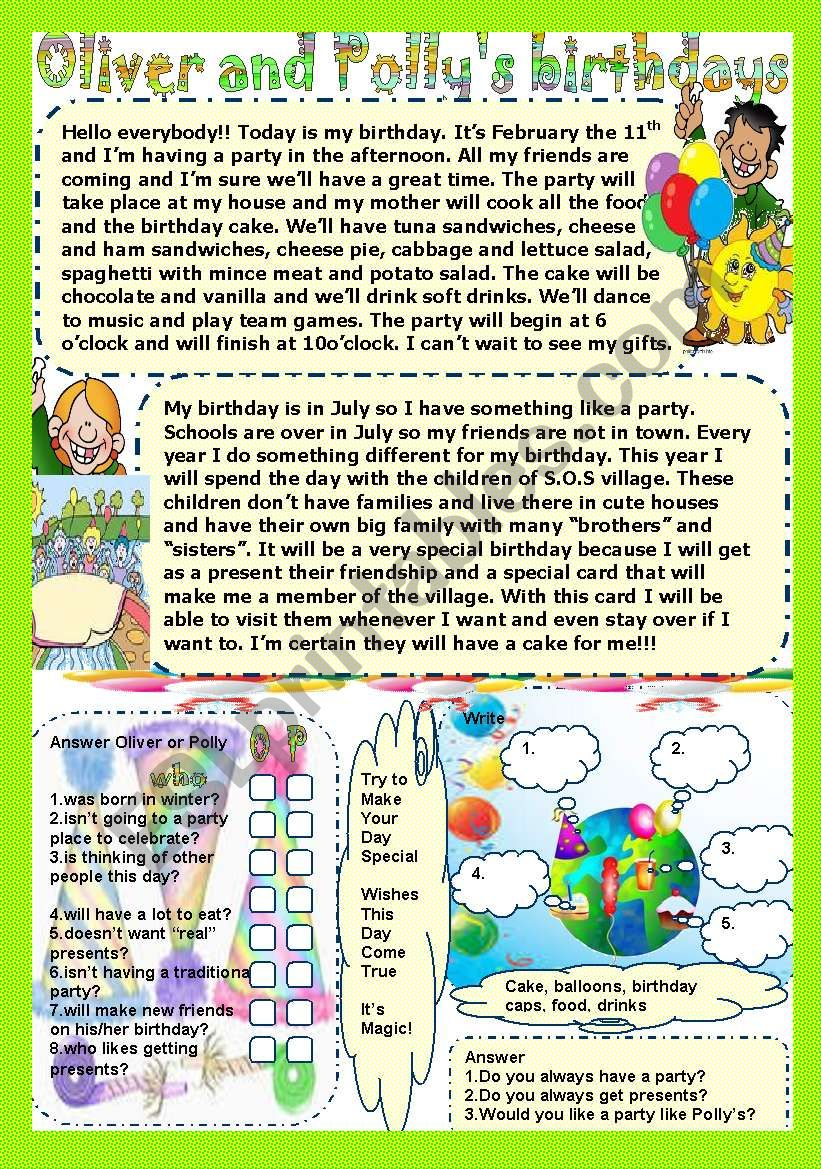 Oliver and Polly´s birthdays worksheet