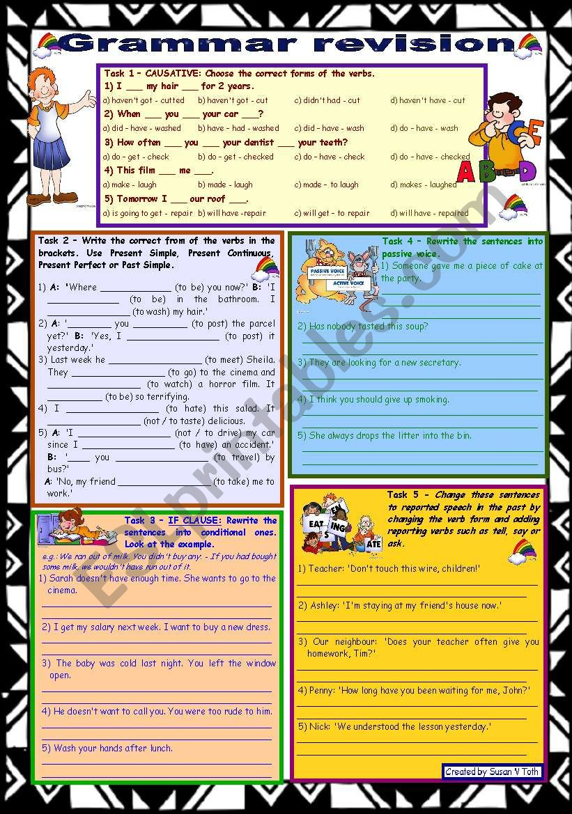 Grammar revision 2 ☺ 5 tasks ☺ for intermediate, upper-intermediate level ☺ 30 minute-test ☺ with key