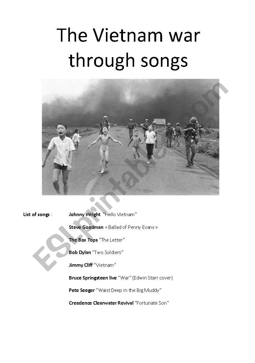 The Vietnam war through songs worksheet