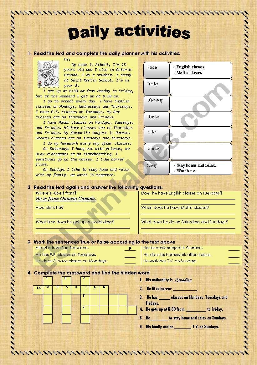 Daily activities worksheet worksheet