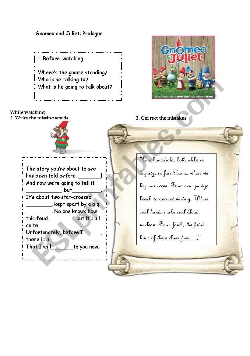 GNOMEO AND JULIET worksheet