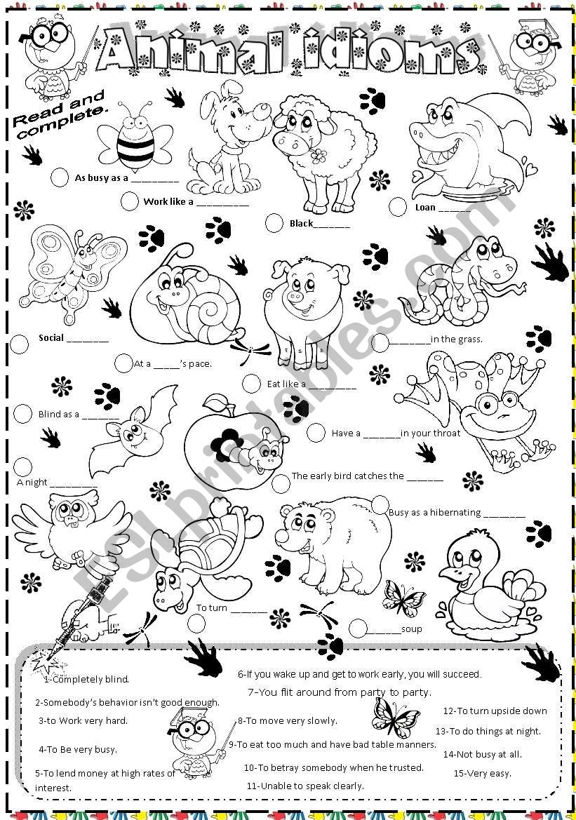 animal idioms worksheet