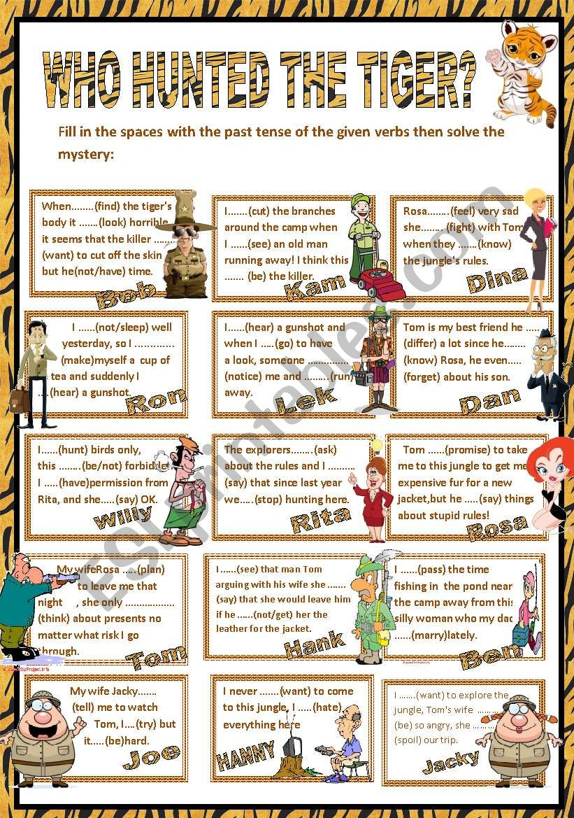 WHO HUNTED THE TIGER? worksheet