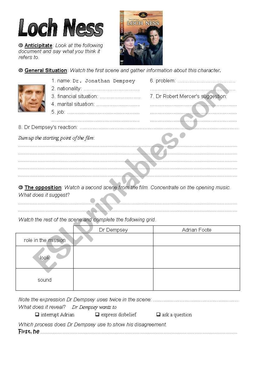 Loch Ness - The movie worksheet