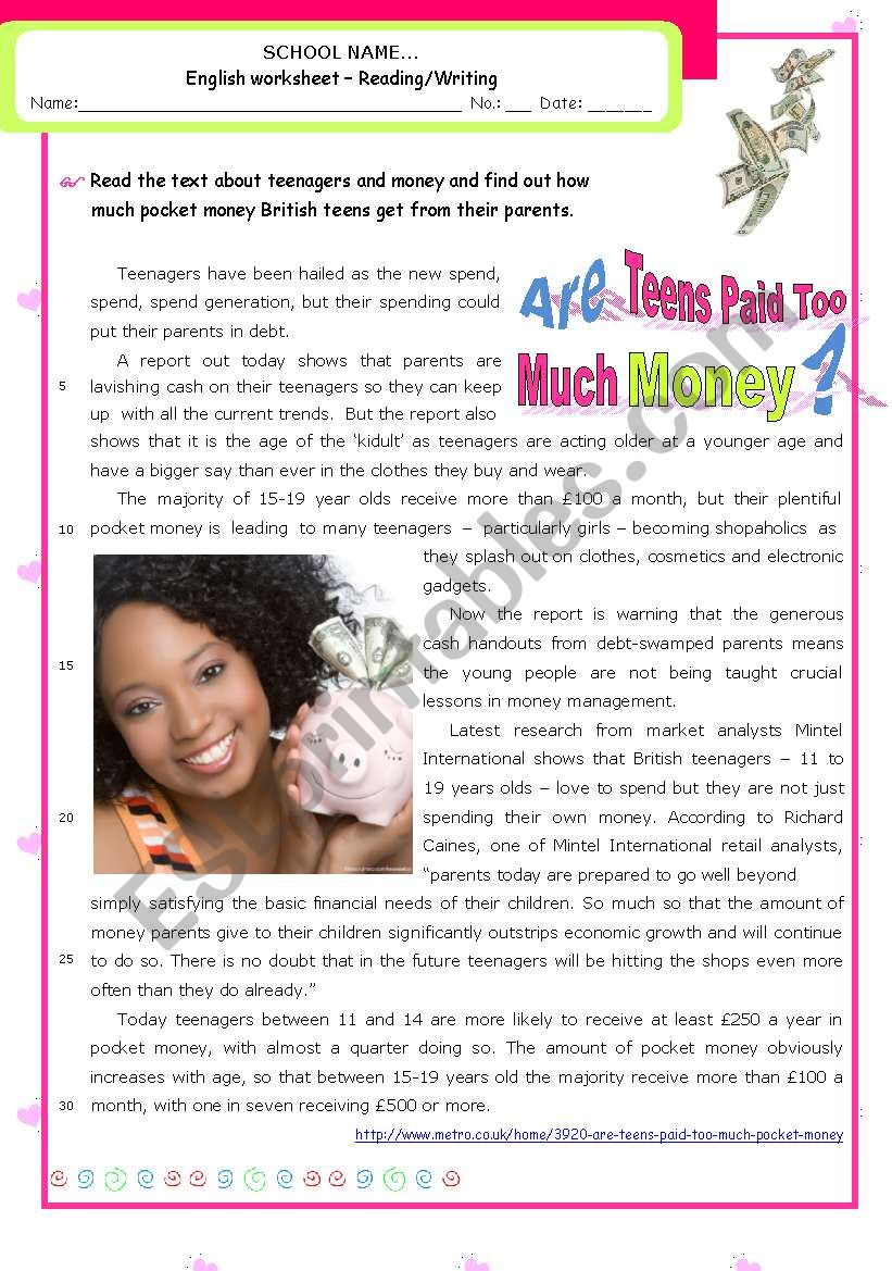 Are teens getting too much pocket money?  -  Reading comprehension
