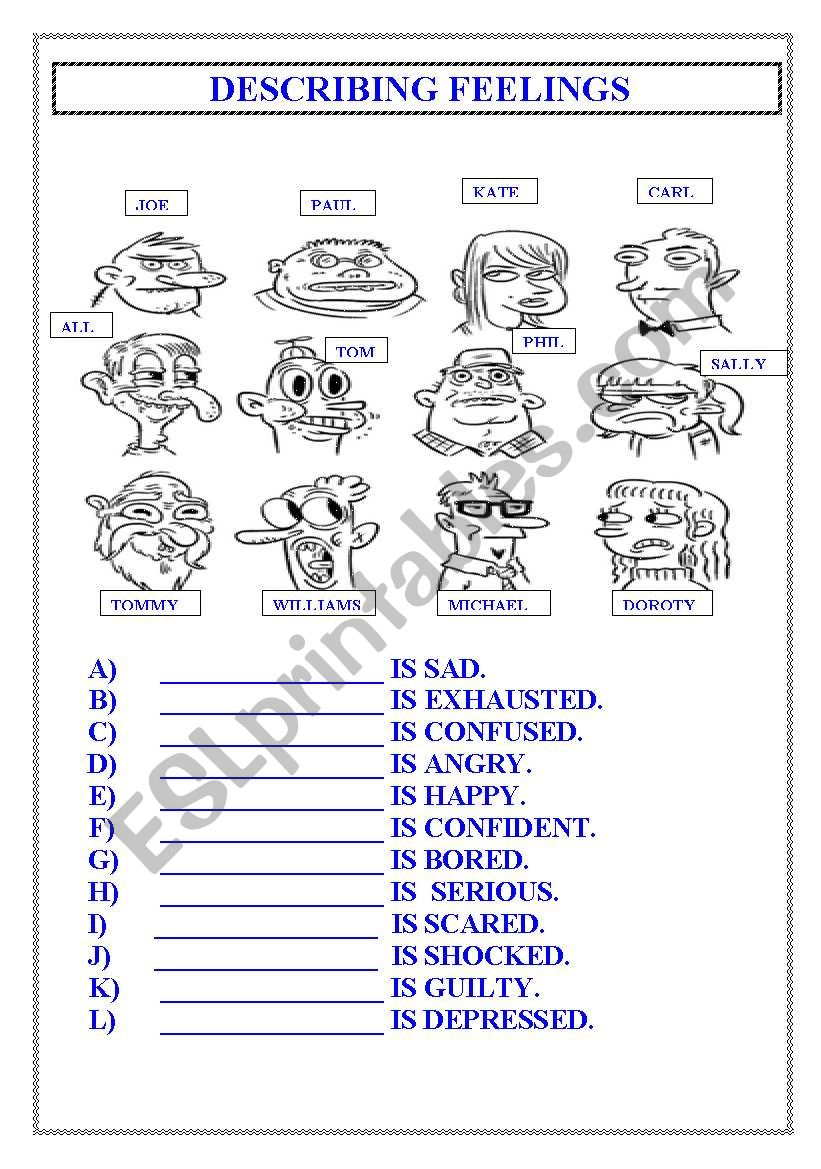 Feelings Esl Worksheet By Serocat