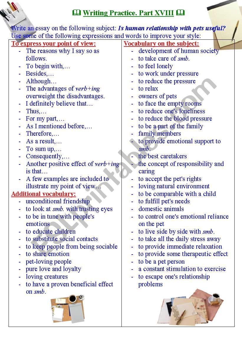 Writing practice for TOEFL/IELTS exams. Useful expressions and vocabulary. PartXVIII.
