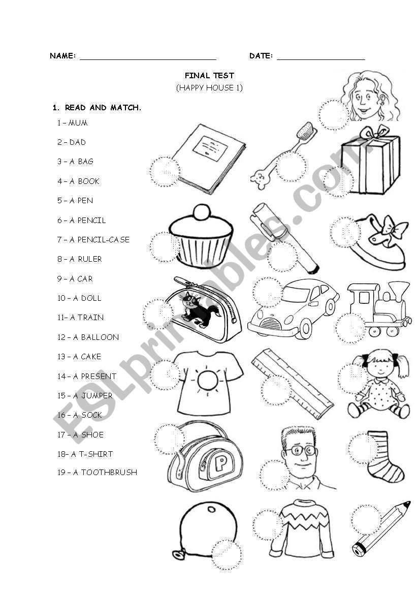 HAPPY HOUSE 1 - TEST worksheet