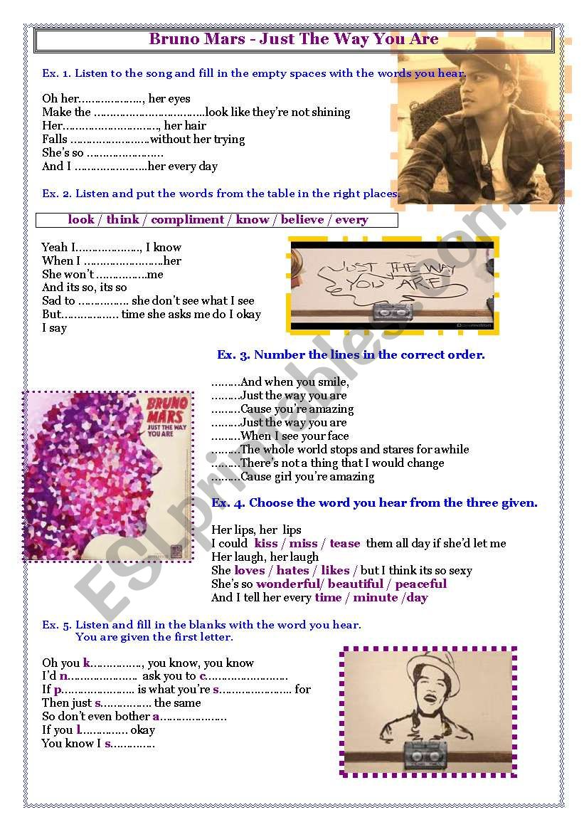 bruno mars song worksheet