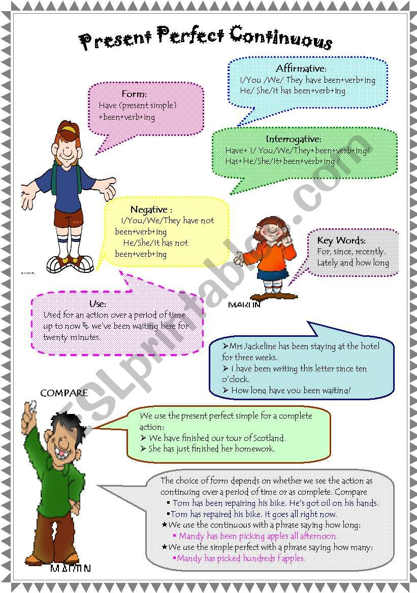 Present Perfect Continuous (W B and Key included)