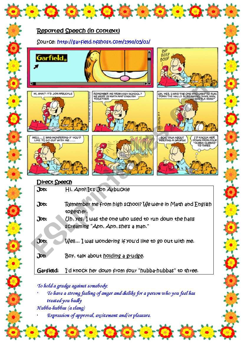 Reported speech in context (based on comic strip, Garfield).  Direct speech provided.  Word and phrase learnt i.e. to hold a grudge, hubba-hubbas