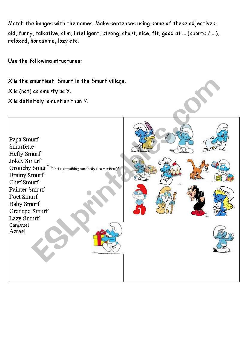 comparatives with smurfs worksheet